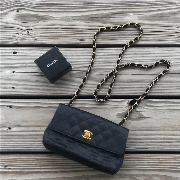 61e8fe603ebe CHANEL Handbags - Chanel vintage satin mini flap bag PRICE FIRM